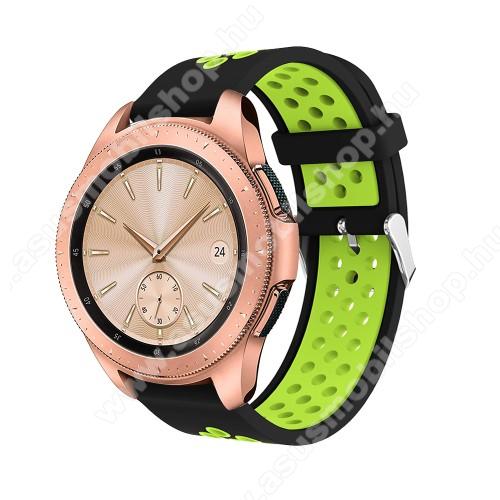 Okosóra szíj - légáteresztő, sportoláshoz, szilikon, max 205mm-es csuklóra, 20mm széles - ZÖLD / FEKETE - SAMSUNG Galaxy Watch 42mm / Xiaomi Amazfit GTS / SAMSUNG Gear S2 / HUAWEI Watch GT 2 42mm / Galaxy Watch Active / Active 2