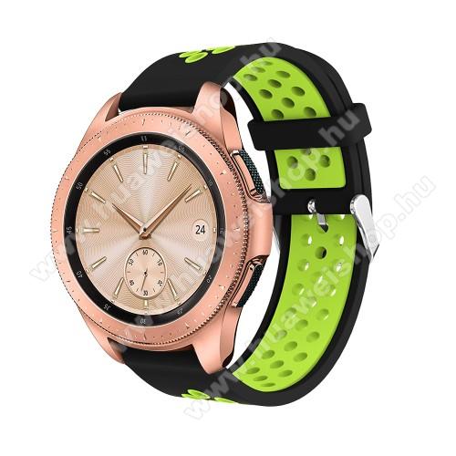 HUAWEI Honor MagicWatch 2 42mmOkosóra szíj - légáteresztő, sportoláshoz, szilikon, max 205mm-es csuklóra, 20mm széles - ZÖLD / FEKETE - SAMSUNG Galaxy Watch 42mm / Xiaomi Amazfit GTS / SAMSUNG Gear S2 / HUAWEI Watch GT 2 42mm / Galaxy Watch Active / Active 2