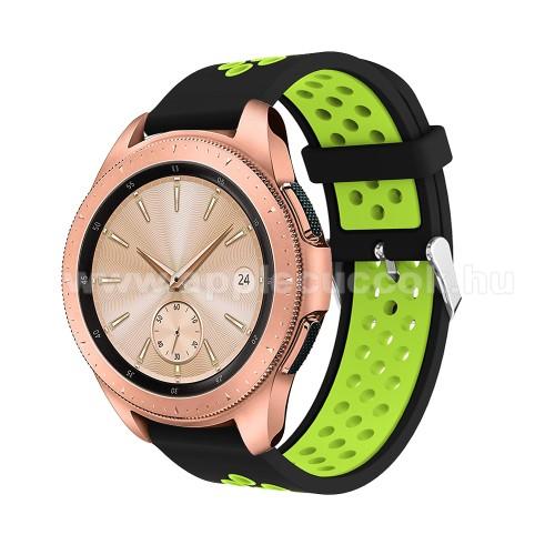 Okosóra szíj - légáteresztő, sportoláshoz, szilikon, max 205mm-es csuklóra, 20mm széles - ZÖLD / FEKETE - SAMSUNG Galaxy Watch 42mm / Xiaomi Amazfit GTS / HUAWEI Watch GT / SAMSUNG Gear S2 / HUAWEI Watch GT 2 42mm / Galaxy Watch Active / Active  2 / Galax