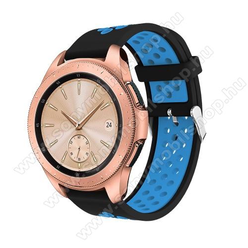 Okosóra szíj - légáteresztő, sportoláshoz, szilikon, max 205mm-es csuklóra, 20mm széles - KÉK / FEKETE - SAMSUNG Galaxy Watch 42mm / Xiaomi Amazfit GTS / SAMSUNG Gear S2 / HUAWEI Watch GT 2 42mm / Galaxy Watch Active / Active 2