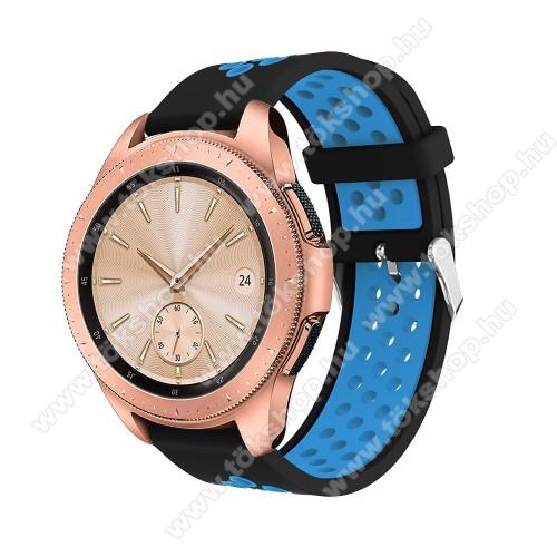vivo Watch 42mmOkosóra szíj - légáteresztő, sportoláshoz, szilikon, max 205mm-es csuklóra, 20mm széles - KÉK / FEKETE - SAMSUNG Galaxy Watch 42mm / Xiaomi Amazfit GTS / SAMSUNG Gear S2 / HUAWEI Watch GT 2 42mm / Galaxy Watch Active / Active 2