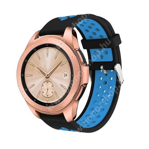 HUAWEI Honor MagicWatch 2 42mm Okosóra szíj - légáteresztő, sportoláshoz, szilikon, max 205mm-es csuklóra, 20mm széles - KÉK / FEKETE - SAMSUNG Galaxy Watch 42mm / Xiaomi Amazfit GTS / SAMSUNG Gear S2 / HUAWEI Watch GT 2 42mm / Galaxy Watch Active / Active 2