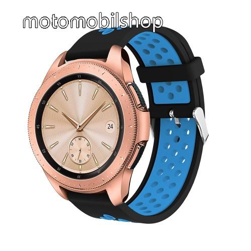 Okosóra szíj - légáteresztő, sportoláshoz, szilikon, max 205mm-es csuklóra, 20mm széles - KÉK / FEKETE - SAMSUNG Galaxy Watch 42mm / Xiaomi Amazfit GTS / HUAWEI Watch GT / SAMSUNG Gear S2 / HUAWEI Watch GT 2 42mm / Galaxy Watch Active / Active  2 / Galaxy
