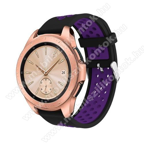 Okosóra szíj - légáteresztő, sportoláshoz, szilikon, max 205mm-es csuklóra, 20mm széles - LILA / FEKETE - SAMSUNG Galaxy Watch 42mm / Xiaomi Amazfit GTS / HUAWEI Watch GT / SAMSUNG Gear S2 / HUAWEI Watch GT 2 42mm / Galaxy Watch Active / Active  2 / Galax