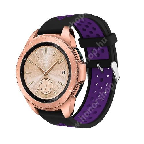 Okosóra szíj - légáteresztő, sportoláshoz, szilikon, max 205mm-es csuklóra, 20mm széles - LILA / FEKETE - SAMSUNG Galaxy Watch 42mm / Xiaomi Amazfit GTS / SAMSUNG Gear S2 / HUAWEI Watch GT 2 42mm / Galaxy Watch Active / Active 2