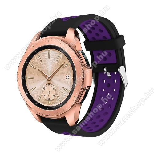 SAMSUNG Galaxy Gear Sport (SM-R600)Okosóra szíj - légáteresztő, sportoláshoz, szilikon, max 205mm-es csuklóra, 20mm széles - LILA / FEKETE - SAMSUNG Galaxy Watch 42mm / Xiaomi Amazfit GTS / SAMSUNG Gear S2 / HUAWEI Watch GT 2 42mm / Galaxy Watch Active / Active 2