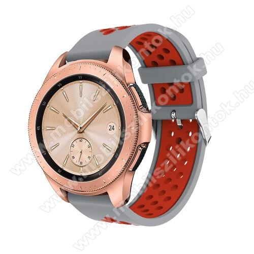 Okosóra szíj - légáteresztő, sportoláshoz, szilikon, max 205mm-es csuklóra, 20mm széles - PIROS / SZÜRKE - SAMSUNG Galaxy Watch 42mm / Xiaomi Amazfit GTS / HUAWEI Watch GT / SAMSUNG Gear S2 / HUAWEI Watch GT 2 42mm / Galaxy Watch Active / Active  2 / Gala