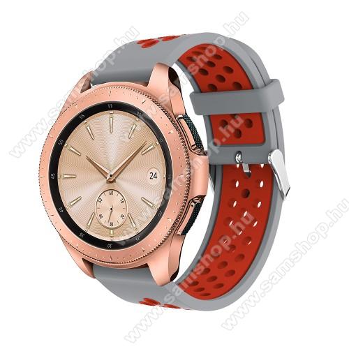 SAMSUNG Galaxy Gear Sport (SM-R600)Okosóra szíj - légáteresztő, sportoláshoz, szilikon, max 205mm-es csuklóra, 20mm széles - PIROS / SZÜRKE - SAMSUNG Galaxy Watch 42mm / Xiaomi Amazfit GTS / SAMSUNG Gear S2 / HUAWEI Watch GT 2 42mm / Galaxy Watch Active / Active 2