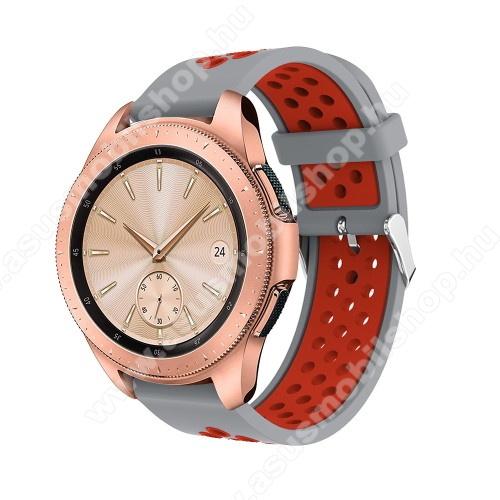 Okosóra szíj - légáteresztő, sportoláshoz, szilikon, max 205mm-es csuklóra, 20mm széles - PIROS / SZÜRKE - SAMSUNG Galaxy Watch 42mm / Xiaomi Amazfit GTS / SAMSUNG Gear S2 / HUAWEI Watch GT 2 42mm / Galaxy Watch Active / Active 2