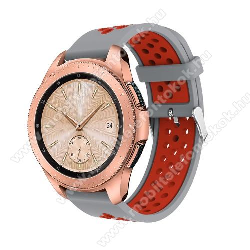 Xiaomi Amazfit NeoOkosóra szíj - légáteresztő, sportoláshoz, szilikon, max 205mm-es csuklóra, 20mm széles - PIROS / SZÜRKE - SAMSUNG Galaxy Watch 42mm / Xiaomi Amazfit GTS / SAMSUNG Gear S2 / HUAWEI Watch GT 2 42mm / Galaxy Watch Active / Active 2