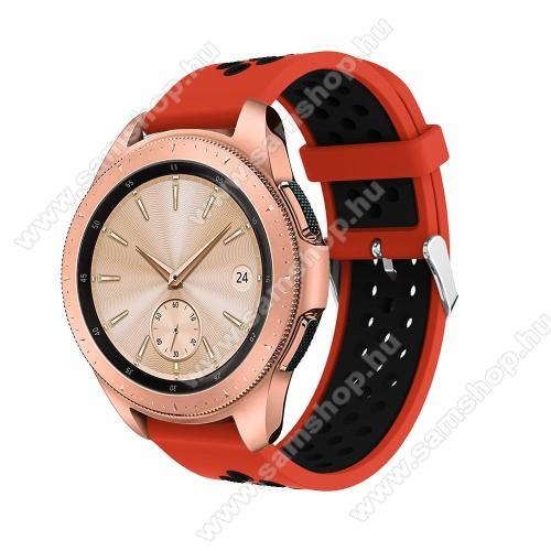 SAMSUNG Galaxy Gear Sport (SM-R600)Okosóra szíj - légáteresztő, sportoláshoz, szilikon, max 205mm-es csuklóra, 20mm széles - PIROS / FEKETE - SAMSUNG Galaxy Watch 42mm / Xiaomi Amazfit GTS / SAMSUNG Gear S2 / HUAWEI Watch GT 2 42mm / Galaxy Watch Active / Active 2
