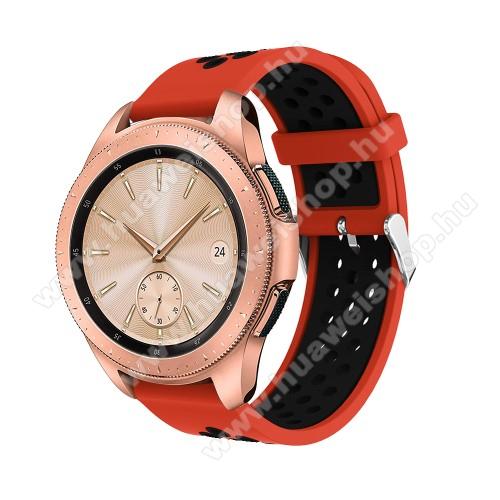 HUAWEI Watch 2Okosóra szíj - légáteresztő, sportoláshoz, szilikon, max 205mm-es csuklóra, 20mm széles - PIROS / FEKETE - SAMSUNG Galaxy Watch 42mm / Xiaomi Amazfit GTS / SAMSUNG Gear S2 / HUAWEI Watch GT 2 42mm / Galaxy Watch Active / Active 2
