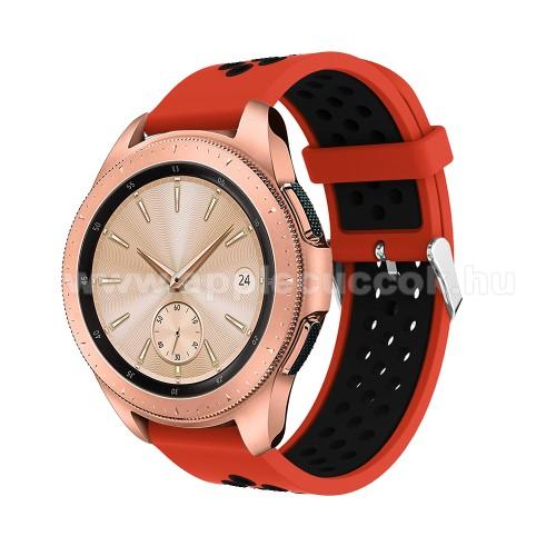 Okosóra szíj - légáteresztő, sportoláshoz, szilikon, max 205mm-es csuklóra, 20mm széles - PIROS / FEKETE - SAMSUNG Galaxy Watch 42mm / Xiaomi Amazfit GTS / HUAWEI Watch GT / SAMSUNG Gear S2 / HUAWEI Watch GT 2 42mm / Galaxy Watch Active / Active  2 / Gala