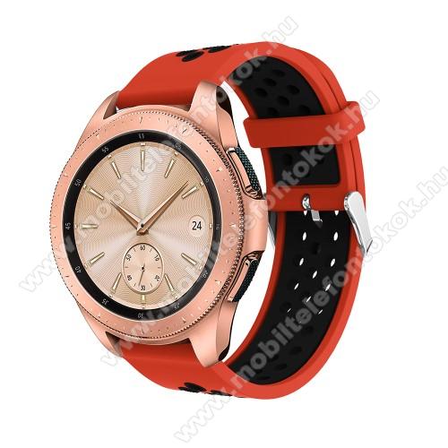 Xiaomi Amazfit NeoOkosóra szíj - légáteresztő, sportoláshoz, szilikon, max 205mm-es csuklóra, 20mm széles - PIROS / FEKETE - SAMSUNG Galaxy Watch 42mm / Xiaomi Amazfit GTS / SAMSUNG Gear S2 / HUAWEI Watch GT 2 42mm / Galaxy Watch Active / Active 2