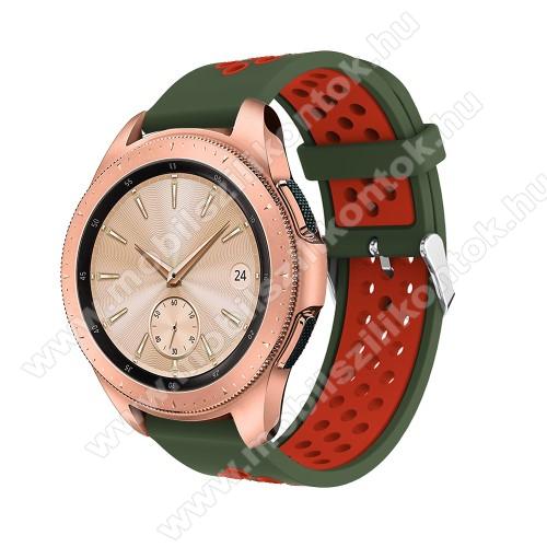 Okosóra szíj - légáteresztő, sportoláshoz, szilikon, max 205mm-es csuklóra, 20mm széles - PIROS / ZÖLD - SAMSUNG Galaxy Watch 42mm / Xiaomi Amazfit GTS / HUAWEI Watch GT / SAMSUNG Gear S2 / HUAWEI Watch GT 2 42mm / Galaxy Watch Active / Active  2 / Galaxy