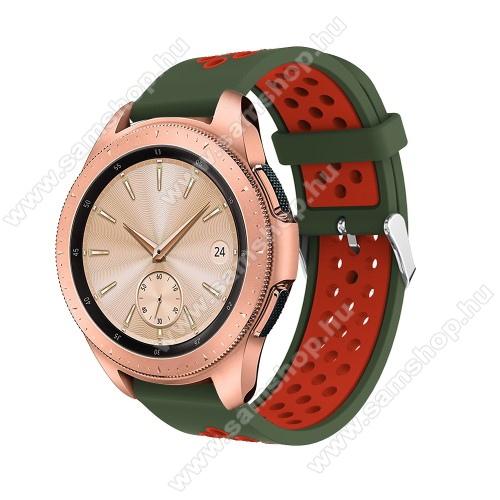 Okosóra szíj - légáteresztő, sportoláshoz, szilikon, max 205mm-es csuklóra, 20mm széles - PIROS / SÖTÉTZÖLD - SAMSUNG Galaxy Watch 42mm / Xiaomi Amazfit GTS / SAMSUNG Gear S2 / HUAWEI Watch GT 2 42mm / Galaxy Watch Active / Active 2