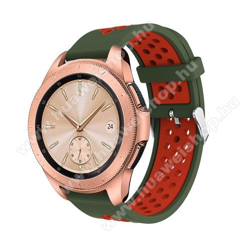 HUAWEI Watch 2Okosóra szíj - légáteresztő, sportoláshoz, szilikon, max 205mm-es csuklóra, 20mm széles - PIROS / SÖTÉTZÖLD - SAMSUNG Galaxy Watch 42mm / Xiaomi Amazfit GTS / SAMSUNG Gear S2 / HUAWEI Watch GT 2 42mm / Galaxy Watch Active / Active 2