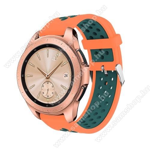 SAMSUNG Galaxy Gear Sport (SM-R600)Okosóra szíj - légáteresztő, sportoláshoz, szilikon, max 205mm-es csuklóra, 20mm széles - NARANCS / ZÖLD - SAMSUNG Galaxy Watch 42mm / Xiaomi Amazfit GTS / SAMSUNG Gear S2 / HUAWEI Watch GT 2 42mm / Galaxy Watch Active / Active 2