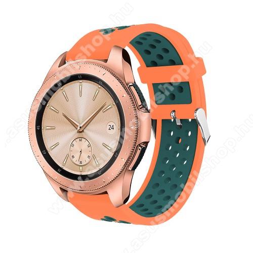 Okosóra szíj - légáteresztő, sportoláshoz, szilikon, max 205mm-es csuklóra, 20mm széles - NARANCS / ZÖLD - SAMSUNG Galaxy Watch 42mm / Xiaomi Amazfit GTS / SAMSUNG Gear S2 / HUAWEI Watch GT 2 42mm / Galaxy Watch Active / Active 2