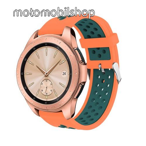 Okosóra szíj - légáteresztő, sportoláshoz, szilikon, max 205mm-es csuklóra, 20mm széles - NARANCS / KÉK - SAMSUNG Galaxy Watch 42mm / Xiaomi Amazfit GTS / HUAWEI Watch GT / SAMSUNG Gear S2 / HUAWEI Watch GT 2 42mm / Galaxy Watch Active / Active  2 / Galax