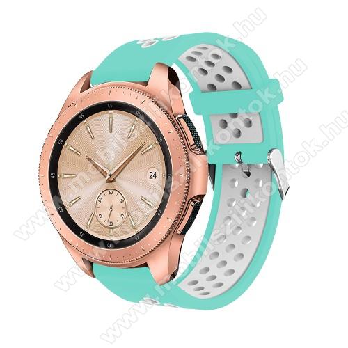 Okosóra szíj - légáteresztő, sportoláshoz, szilikon, max 205mm-es csuklóra, 20mm széles - CYAN / FEHÉR - SAMSUNG Galaxy Watch 42mm / Xiaomi Amazfit GTS / HUAWEI Watch GT / SAMSUNG Gear S2 / HUAWEI Watch GT 2 42mm / Galaxy Watch Active / Active  2 / Galaxy