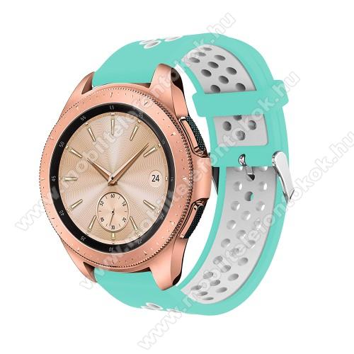 Okosóra szíj - légáteresztő, sportoláshoz, szilikon, max 205mm-es csuklóra, 20mm széles - CYAN / FEHÉR - SAMSUNG Galaxy Watch 42mm / Xiaomi Amazfit GTS / SAMSUNG Gear S2 / HUAWEI Watch GT 2 42mm / Galaxy Watch Active / Active 2