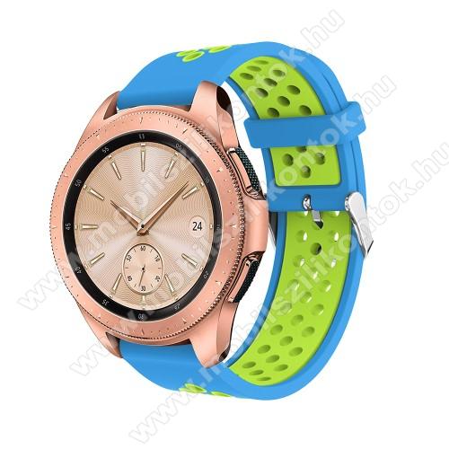 Okosóra szíj - légáteresztő, sportoláshoz, szilikon, max 205mm-es csuklóra, 20mm széles - KÉK / ZÖLD - SAMSUNG Galaxy Watch 42mm / Xiaomi Amazfit GTS / HUAWEI Watch GT / SAMSUNG Gear S2 / HUAWEI Watch GT 2 42mm / Galaxy Watch Active / Active  2 / Galaxy G