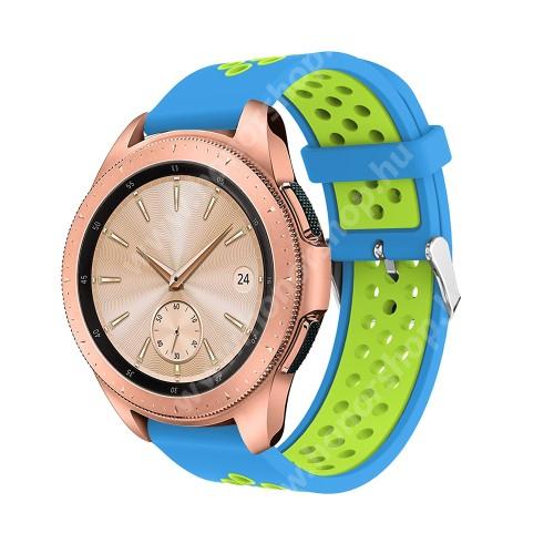 Okosóra szíj - légáteresztő, sportoláshoz, szilikon, max 205mm-es csuklóra, 20mm széles - VILÁGOSKÉK / ZÖLD - SAMSUNG Galaxy Watch 42mm / Xiaomi Amazfit GTS / SAMSUNG Gear S2 / HUAWEI Watch GT 2 42mm / Galaxy Watch Active / Active 2