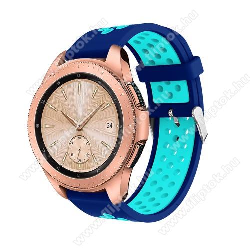 EVOLVEO SPORTWATCH M1SOkosóra szíj - légáteresztő, sportoláshoz, szilikon, max 205mm-es csuklóra, 20mm széles - SÖTÉTKÉK / VILÁGOSKÉK - SAMSUNG Galaxy Watch 42mm / Xiaomi Amazfit GTS / SAMSUNG Gear S2 / HUAWEI Watch GT 2 42mm / Galaxy Watch Active / Active 2