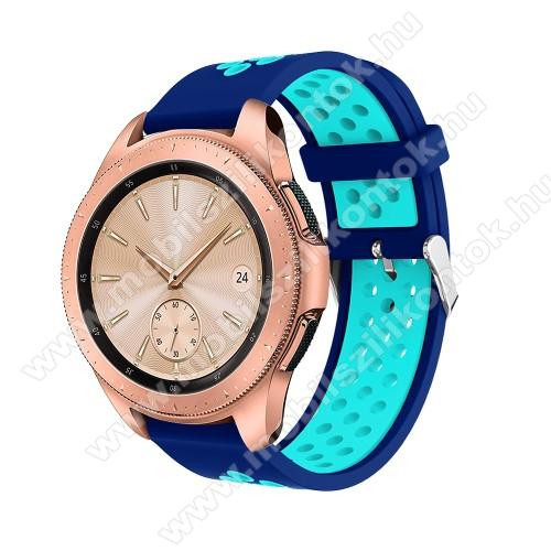 Okosóra szíj - légáteresztő, sportoláshoz, szilikon, max 205mm-es csuklóra, 20mm széles - SÖTÉTKÉK / VILÁGOSKÉK - SAMSUNG Galaxy Watch 42mm / Xiaomi Amazfit GTS / HUAWEI Watch GT / SAMSUNG Gear S2 / HUAWEI Watch GT 2 42mm / Galaxy Watch Active / Active  2