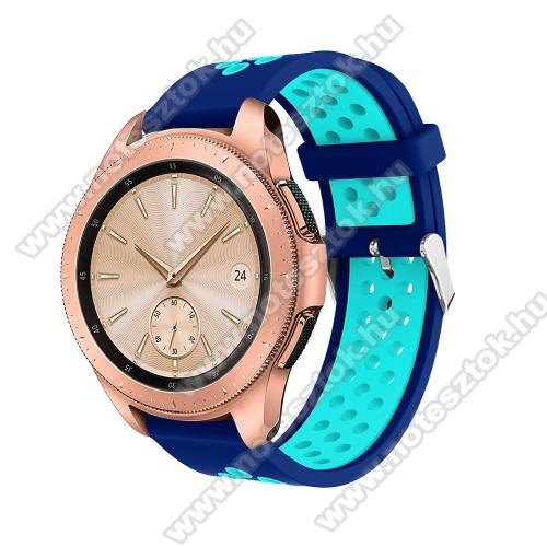 WOTCHI SmartWatch W22SOkosóra szíj - légáteresztő, sportoláshoz, szilikon, max 205mm-es csuklóra, 20mm széles - SÖTÉTKÉK / VILÁGOSKÉK - SAMSUNG Galaxy Watch 42mm / Xiaomi Amazfit GTS / SAMSUNG Gear S2 / HUAWEI Watch GT 2 42mm / Galaxy Watch Active / Active 2