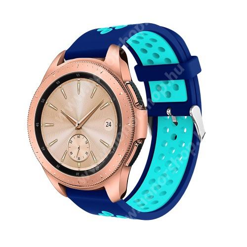 HUAWEI Watch GT 2 42mm Okosóra szíj - légáteresztő, sportoláshoz, szilikon, max 205mm-es csuklóra, 20mm széles - SÖTÉTKÉK / VILÁGOSKÉK - SAMSUNG Galaxy Watch 42mm / Xiaomi Amazfit GTS / SAMSUNG Gear S2 / HUAWEI Watch GT 2 42mm / Galaxy Watch Active / Active 2