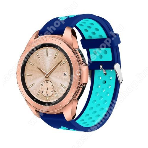 Okosóra szíj - légáteresztő, sportoláshoz, szilikon, max 205mm-es csuklóra, 20mm széles - SÖTÉTKÉK / VILÁGOSKÉK - SAMSUNG Galaxy Watch 42mm / Xiaomi Amazfit GTS / SAMSUNG Gear S2 / HUAWEI Watch GT 2 42mm / Galaxy Watch Active / Active 2