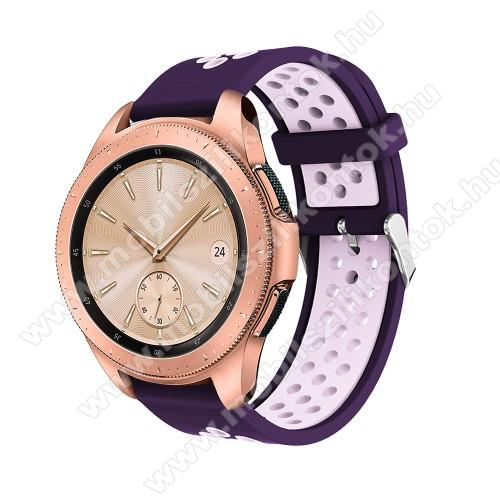 Okosóra szíj - légáteresztő, sportoláshoz, szilikon, max 205mm-es csuklóra, 20mm széles - SÖTÉTLILA / VILÁGOS LILA - SAMSUNG Galaxy Watch 42mm / Xiaomi Amazfit GTS / HUAWEI Watch GT / SAMSUNG Gear S2 / HUAWEI Watch GT 2 42mm / Galaxy Watch Active / Active
