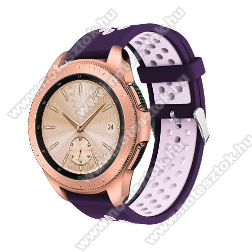 WOTCHI SmartWatch W22SOkosóra szíj - légáteresztő, sportoláshoz, szilikon, max 205mm-es csuklóra, 20mm széles - SÖTÉTLILA / VILÁGOS LILA - SAMSUNG Galaxy Watch 42mm / Xiaomi Amazfit GTS / SAMSUNG Gear S2 / HUAWEI Watch GT 2 42mm / Galaxy Watch Active / Active 2