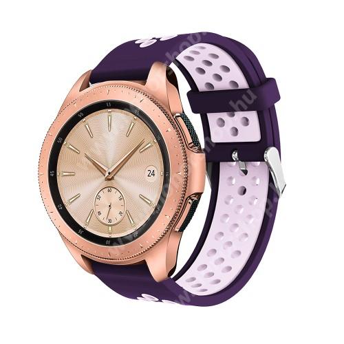 HUAWEI Honor MagicWatch 2 42mm Okosóra szíj - légáteresztő, sportoláshoz, szilikon, max 205mm-es csuklóra, 20mm széles - SÖTÉTLILA / VILÁGOS LILA - SAMSUNG Galaxy Watch 42mm / Xiaomi Amazfit GTS / SAMSUNG Gear S2 / HUAWEI Watch GT 2 42mm / Galaxy Watch Active / Active 2