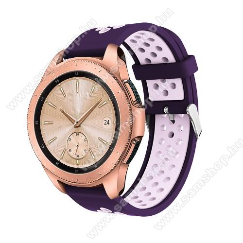 SAMSUNG Galaxy Gear Sport (SM-R600)Okosóra szíj - légáteresztő, sportoláshoz, szilikon, max 205mm-es csuklóra, 20mm széles - SÖTÉTLILA / VILÁGOS LILA - SAMSUNG Galaxy Watch 42mm / Xiaomi Amazfit GTS / SAMSUNG Gear S2 / HUAWEI Watch GT 2 42mm / Galaxy Watch Active / Active 2