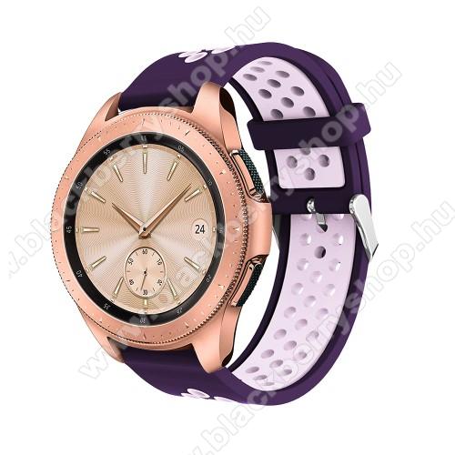 Okosóra szíj - légáteresztő, sportoláshoz, szilikon, max 205mm-es csuklóra, 20mm széles - SÖTÉTLILA / VILÁGOS LILA - SAMSUNG Galaxy Watch 42mm / Xiaomi Amazfit GTS / SAMSUNG Gear S2 / HUAWEI Watch GT 2 42mm / Galaxy Watch Active / Active 2