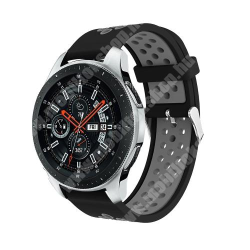 Okosóra szíj - légáteresztő, sportoláshoz, szilikon, max 205mm-es csuklóra - FEKETE / SZÜRKE - SAMSUNG Galaxy Watch 46mm / SAMSUNG Gear S3 Classic / SAMSUNG Gear S3 Frontier