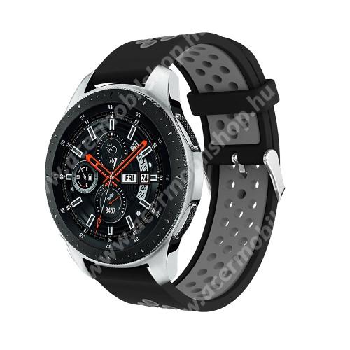 Okosóra szíj - légáteresztő, sportoláshoz, szilikon, 125mm + 80mm hosszú, 22mm széles, max 205mm-es csuklóra - FEKETE / SZÜRKE - SAMSUNG Galaxy Watch 46mm / SAMSUNG Gear S3 Classic / SAMSUNG Gear S3 Frontier