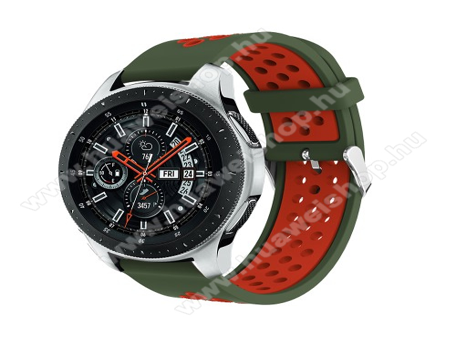 HUAWEI Watch GT 2eOkosóra szíj - légáteresztő, sportoláshoz, szilikon, 125mm + 80mm hosszú, 22mm széles, max 205mm-es csuklóra - ZÖLD / PIROS - SAMSUNG Galaxy Watch 46mm / SAMSUNG Gear S3 Classic / SAMSUNG Gear S3 Frontier