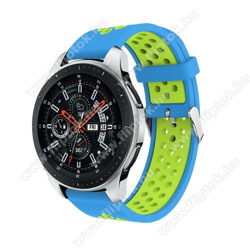 ZTE Watch GTOkosóra szíj - légáteresztő, sportoláshoz, szilikon, 125mm + 80mm hosszú, 22mm széles, max 205mm-es csuklóra - VILÁGOSKÉK / ZÖLD - SAMSUNG Galaxy Watch 46mm / SAMSUNG Gear S3 Classic / SAMSUNG Gear S3 Frontier
