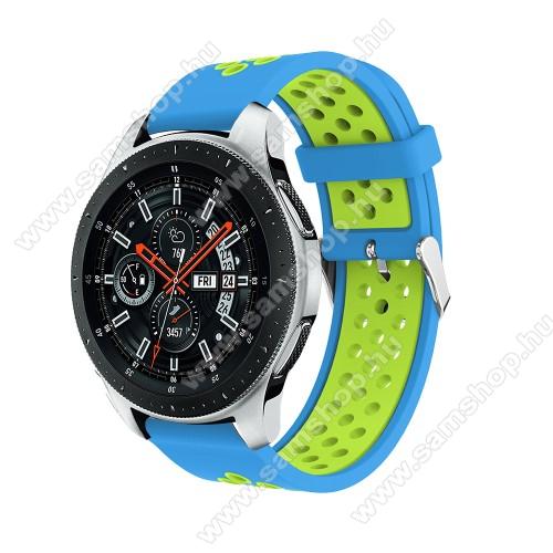 SAMSUNG SM-R380 Gear 2Okosóra szíj - légáteresztő, sportoláshoz, szilikon, 125mm + 80mm hosszú, 22mm széles, max 205mm-es csuklóra - VILÁGOSKÉK / ZÖLD - SAMSUNG Galaxy Watch 46mm / SAMSUNG Gear S3 Classic / SAMSUNG Gear S3 Frontier