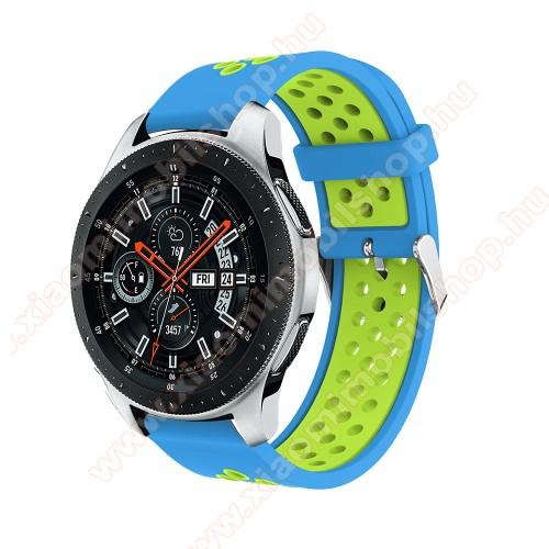 Xiaomi Amazfit Stratos 3Okosóra szíj - légáteresztő, sportoláshoz, szilikon, 125mm + 80mm hosszú, 22mm széles, max 205mm-es csuklóra - VILÁGOSKÉK / ZÖLD - SAMSUNG Galaxy Watch 46mm / SAMSUNG Gear S3 Classic / SAMSUNG Gear S3 Frontier