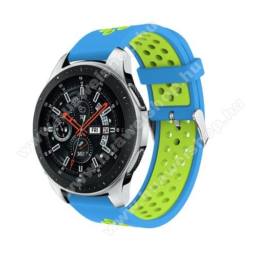 HUAWEI Watch GT 2eOkosóra szíj - légáteresztő, sportoláshoz, szilikon, 125mm + 80mm hosszú, 22mm széles, max 205mm-es csuklóra - VILÁGOSKÉK / ZÖLD - SAMSUNG Galaxy Watch 46mm / SAMSUNG Gear S3 Classic / SAMSUNG Gear S3 Frontier