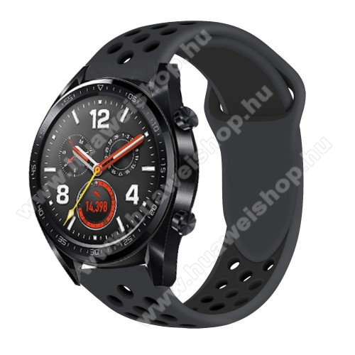 HUAWEI Watch GTOkosóra szíj - légáteresztő, sportoláshoz, szilikon - FEKETE - HUAWEI Watch GT / HUAWEI Watch Magic