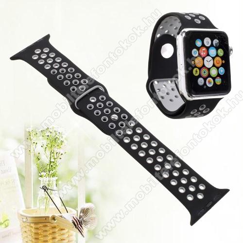 APPLE Watch Series 6 40mmOkosóra szíj - légáteresztő, sportoláshoz, szilikon - FEKETE - 92mm + 88mm hosszú, 20mm széles - Apple Watch Series 1/2/3 38mm / APPLE Watch Series 4 40mm / APPLE Watch Series 5 40mm