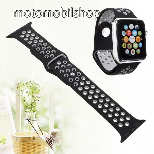 Okosóra szíj - légáteresztő, sportoláshoz, szilikon - FEKETE - Apple Watch Series 1/2/3 38mm / APPLE Watch Series 4 40mm