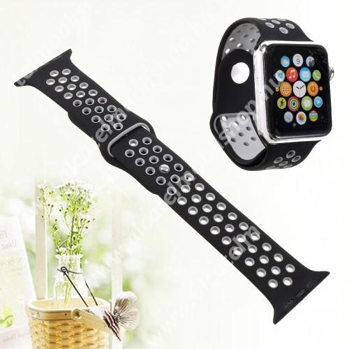 Okosóra szíj - légáteresztő, sportoláshoz, szilikon - FEKETE - Apple Watch Series 3/2/1 42mm / APPLE Watch Series 4 44mm