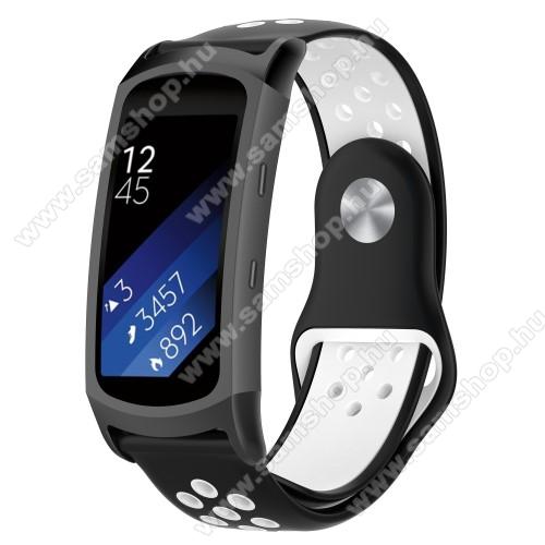 SAMSUNG SM-R360 Gear Fit 2Okosóra szíj - légáteresztő, sportoláshoz, szilikon - FEKETE / FEHÉR - 95mm + 100mm hosszú, 18mm széles - SAMSUNG Gear Fit 2 SM-R360 / Samsung Gear Fit 2 Pro SM-R365